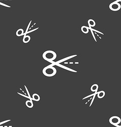 Scissors with cut dash dotted line sign icon vector