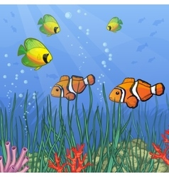 Underwater with coral reefs and tropical fishes vector