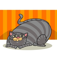 Tabby fat cat cartoon vector