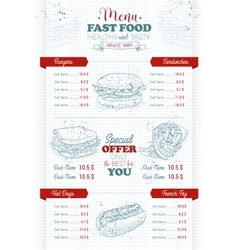 Drawing vertical scetch of fast food menu vector