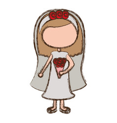 Blurred colorful faceless cartoon woman in wedding vector