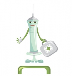 cartoon medical syringe vector image