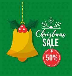 christmas sale card invitation bell hanging tag vector image