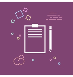 Clipboard with a pencil line style design vector