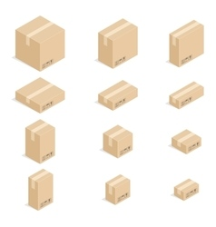 Closed cardboard boxes set vector image vector image