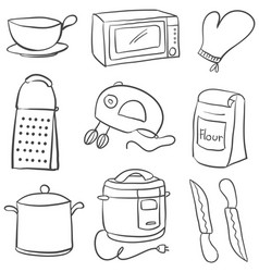 Doodle of equipment kitchen object vector