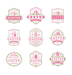 Easter badges and labels design elements vector