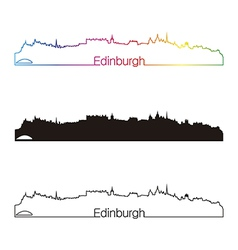 Edinburgh skyline linear style with rainbow vector