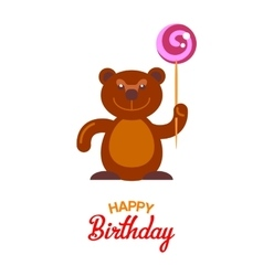 Flat bear and lollipop card vector image