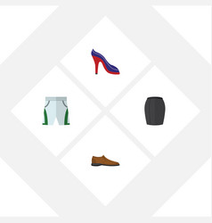Flat garment set of heeled shoe male footware vector