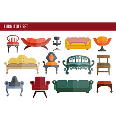 Furniture sofa couch chair and armchair home room vector
