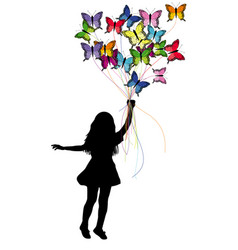 Girl dragged by butterflies vector
