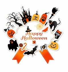 Halloween with celebration symbols vector image