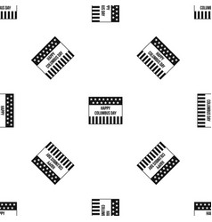 happy columbus day pattern seamless black vector image vector image
