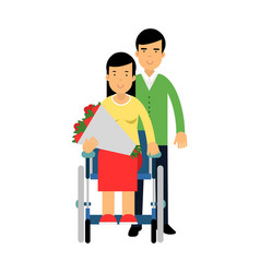 happy couple in love disabled woman in wheelchair vector image vector image