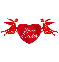 happy easter angels big red heart with greeting vector image vector image