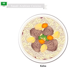 Kabsa or saudi arabian spiced meat and rice vector