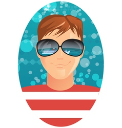 man and reflection in sunglasses vector image vector image