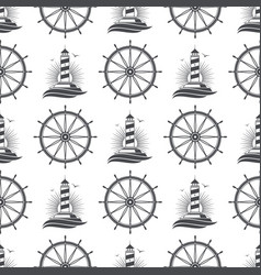 marine nautical seamless pattern design with vector image
