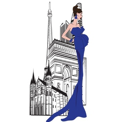 Parisian woman on a background of city vector image vector image