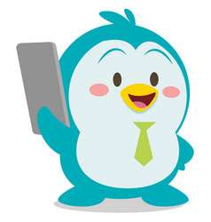 penguin with phone character vector image vector image
