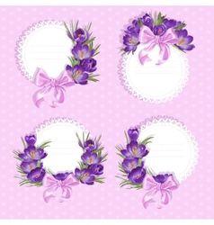 Pink labels with purple crocus vector