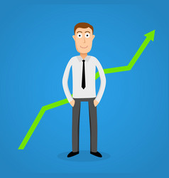 Satisfy business man and growth chart vector