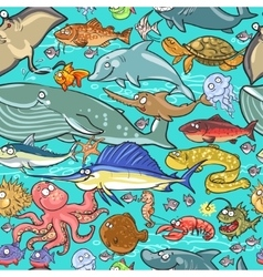 Sea and river animals pattern vector