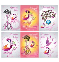 Set of greeting card template the Women day vector image