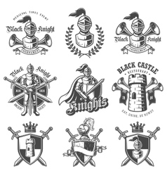 Set of monochrome knights emblems vector