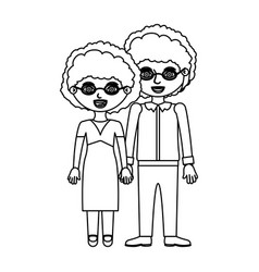 Sketch silhouette elderly couple curly woman with vector