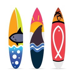 surfboard with fish icon on it set vector image vector image