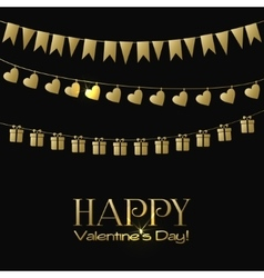 Valentines Day greeting card with gold garlands on vector image vector image