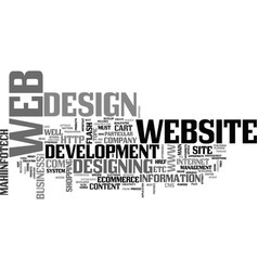 Web design and web development article text word vector