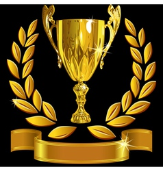 Winning gold cup laurel wreath and ribbon vector image vector image