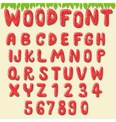 Wood font cherry vector