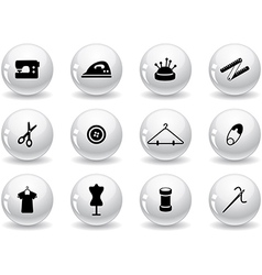 Web buttons sewing symbols vector image