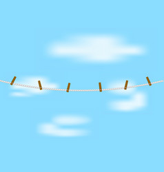clothespins on rope in white design vector image