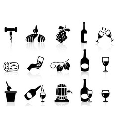 grape wine icons set vector image