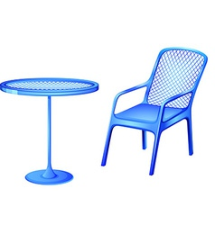 A blue table and chair vector