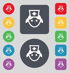 Nurse icon sign a set of 12 colored buttons flat vector