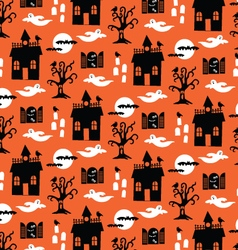 Halloween haunted houses and ghosts vector