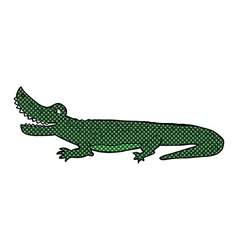 Comic cartoon happy crocodile vector