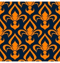 Orange and blue floral seamless pattern vector
