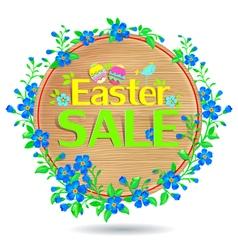Banner Easter sale wooden vector image