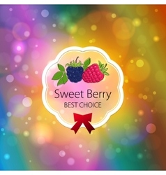 Fruits label on bright abstract bokeh background vector
