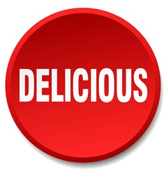 Delicious red round flat isolated push button vector