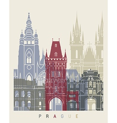 Prague skyline poster vector