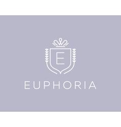 Elegant monogram letter e logotype premium crest vector