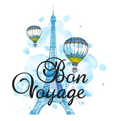 Eiffel Tower and air balloons vector image